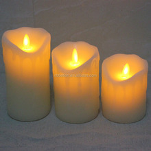 Dripping Wax moving flame wick led candles with timer Chrismas Led Candles with tearing flameless moving wick led candles