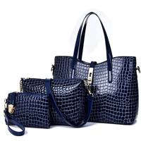 custom new style high quality luxury brand pu material shoulder purse 3 piece hand bags 3 set hand bag women handbag