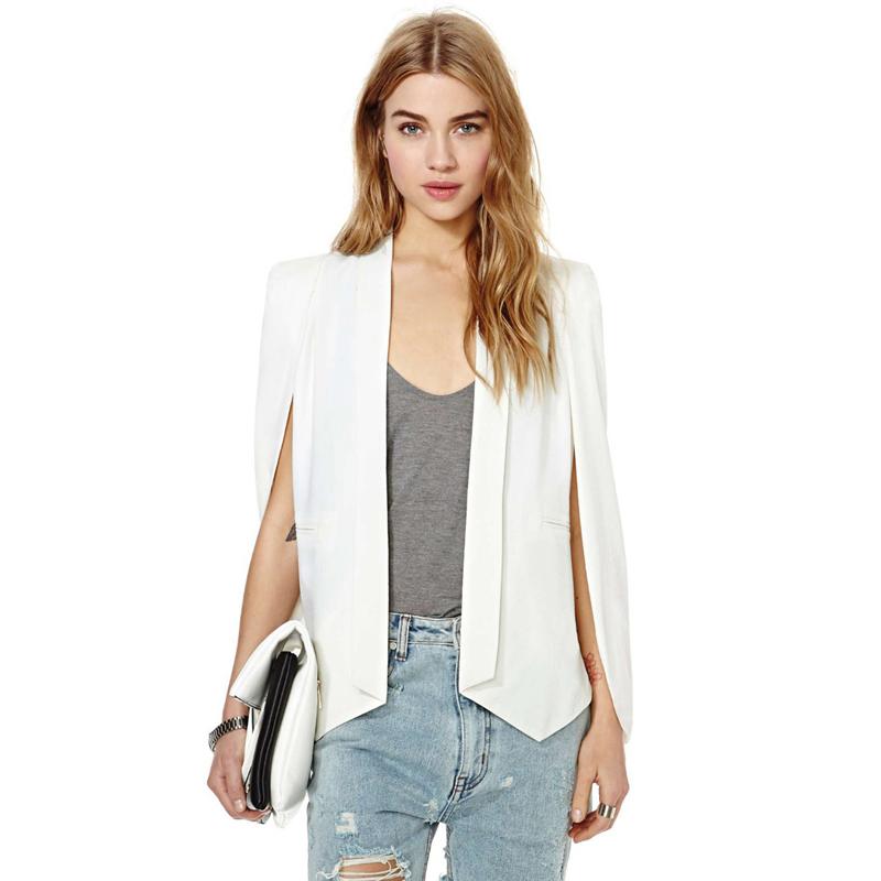 5811bb9ab7dd XS XXL 6 Size Women Fashion White U0026 Black Lapel Split Long Sleeve  Pockets Casual Blazer
