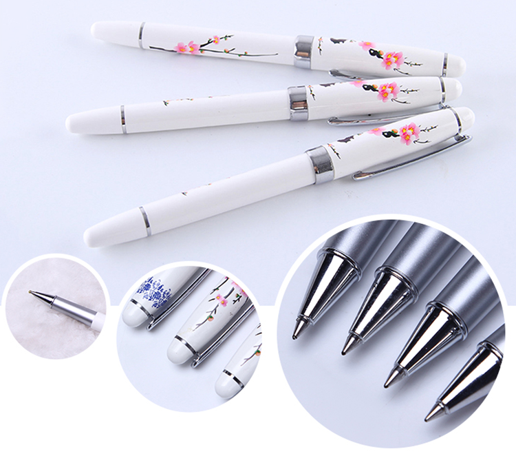 Wholesale Promote Business Novelty Custom Design Chinoiserie Flower Pens With Logo