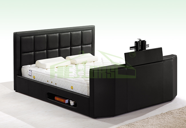 Hb751 King Size Leather Bed With Tv In Footboard Buy Bed