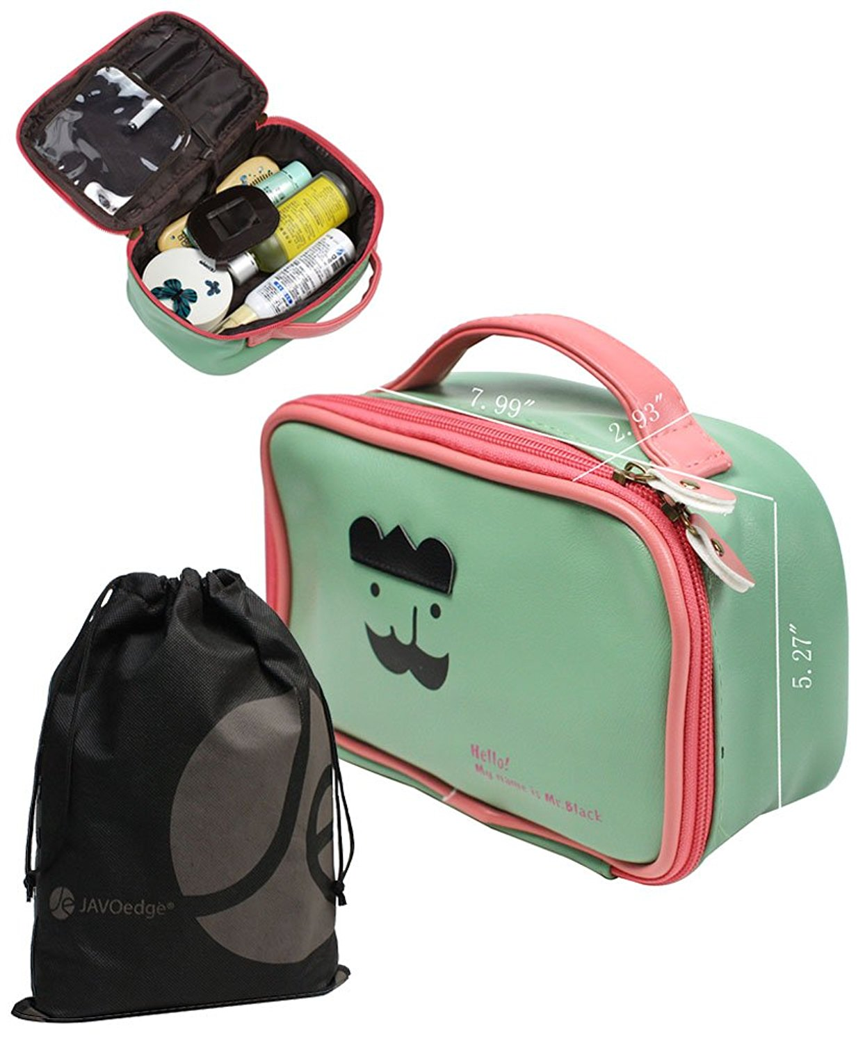 Zipper Travel Bathroom, Toiletry and Cosmetic Bag with Bonus Reusable Drawstring Storage Bag