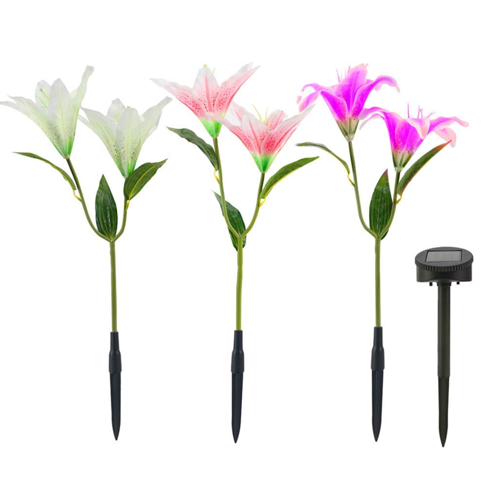Outdoor Solar Garden Stake Lights - Solar Powered Lights with 6 Lily Flower, Multi-Color Changing LED Solar Stake Lights for Garden, Patio, Backyard (Purple,Pink and White)