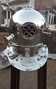 Antique Iron Scuba Deep Diving Divers Helmet Mark V Us Navy Chrome Finish