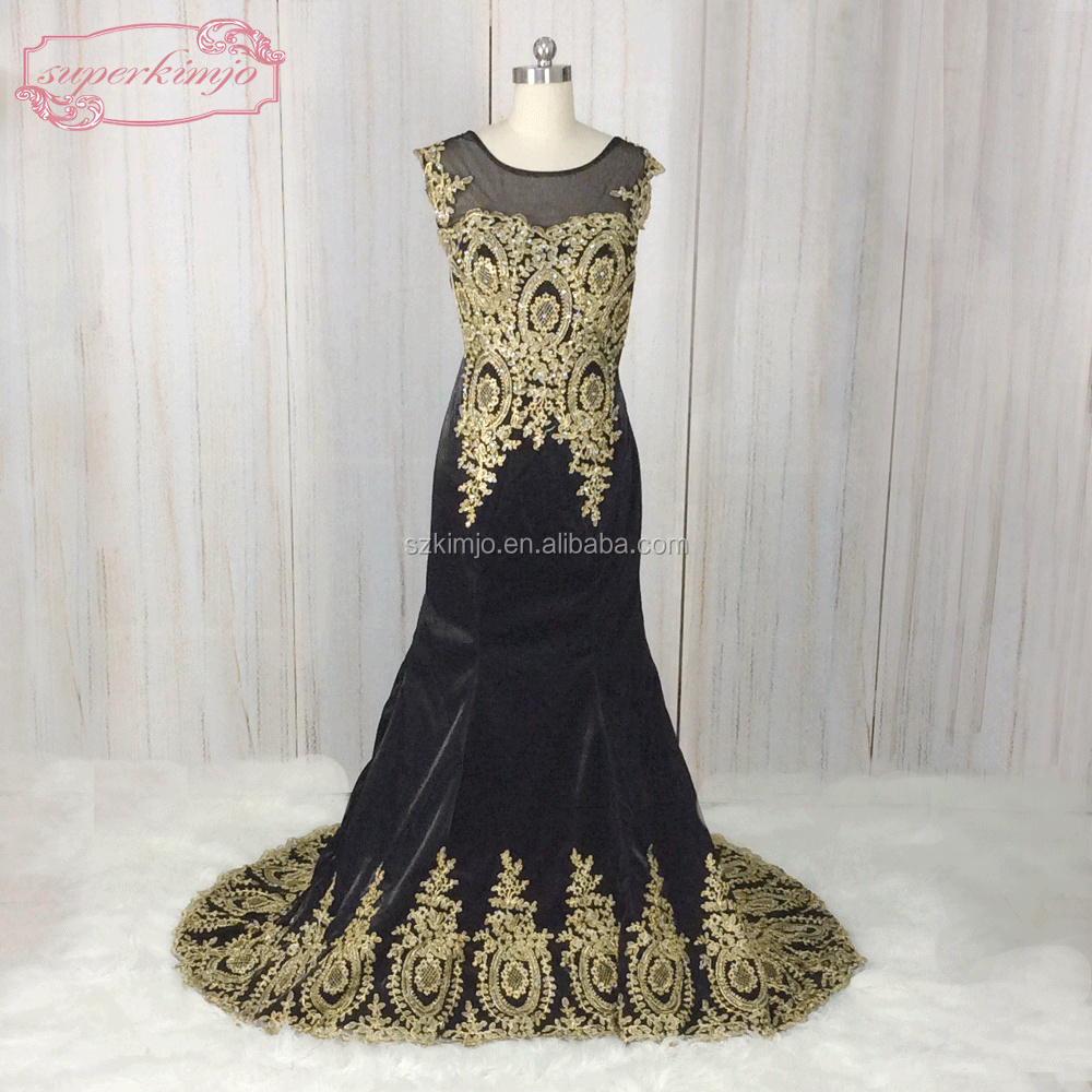 2018 Real Photo Mermaid Black Applique Beaded Evening Dress Suzhou