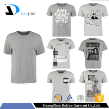 High quality cheap custom silk screen printing grey men 200g combed cotton plain extended t shirt blank
