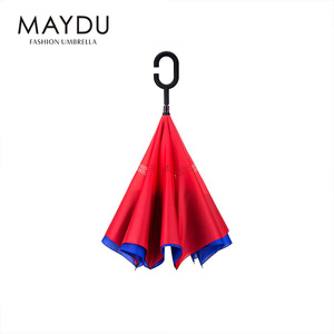 MAYDU wholesale custom golf reverse inverted red umbrellas with double layer printing logo