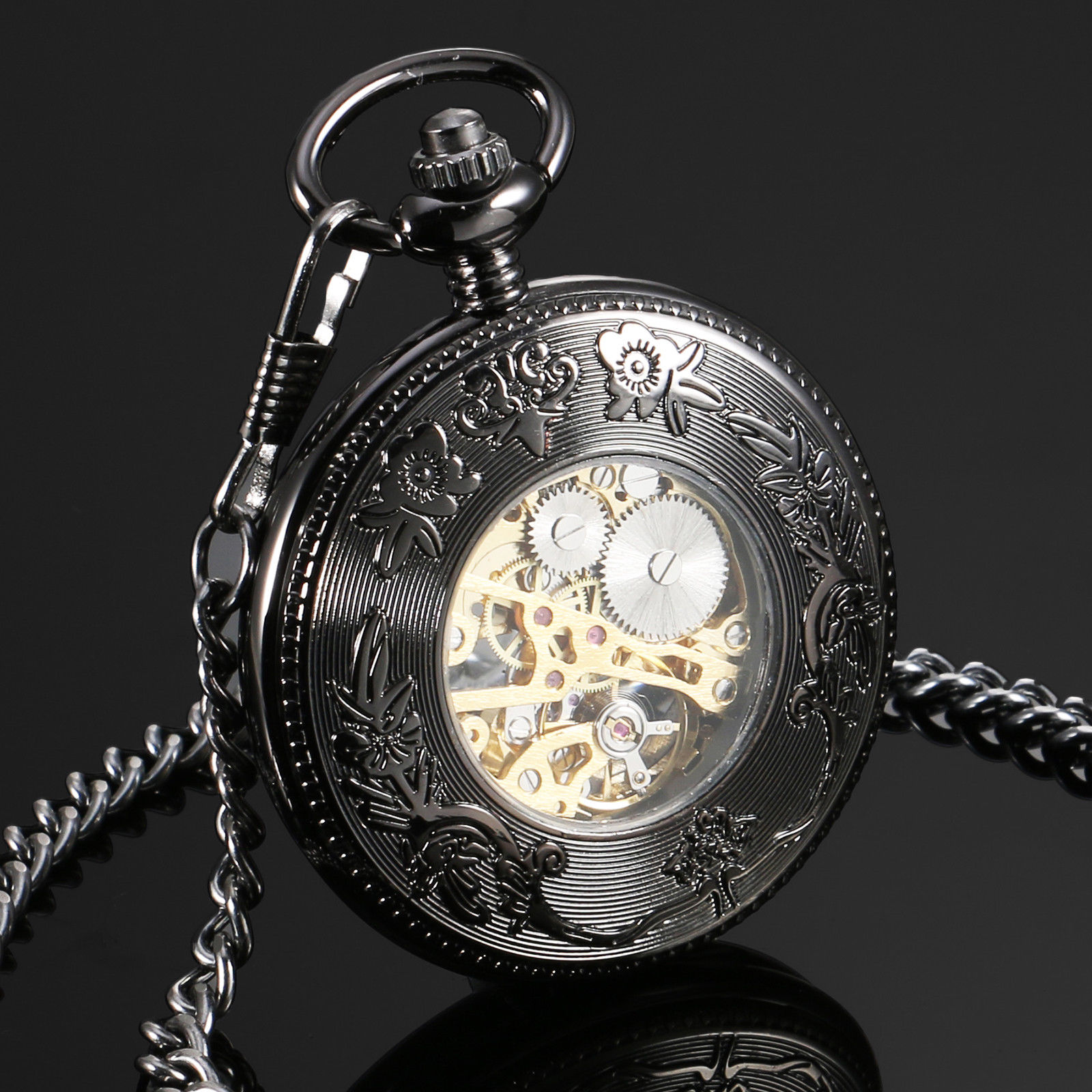 69913b0fa ... See Through Mechanical Mens Pocket Watch Black Dial Arabic Number Hand  Wind Watch w/Chain Gift. When you first wear it, please wind the watch by  turning ...