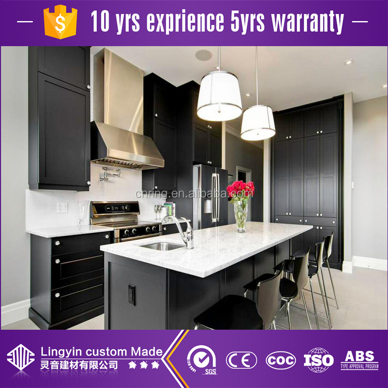 black shaker style ready made solid wood kitchen cabinets with sink in lahore