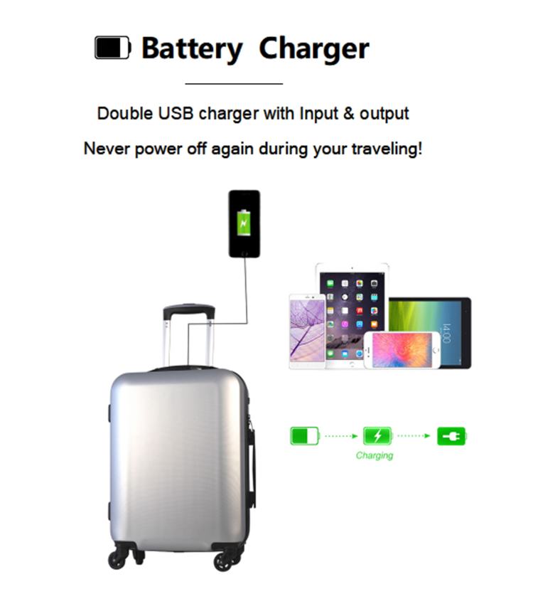 Custom Abs/pc Trolley Travel Carrier Suit Case Luggage & Other  Luggage Set Suitcase With Usb Charger Charging Battery