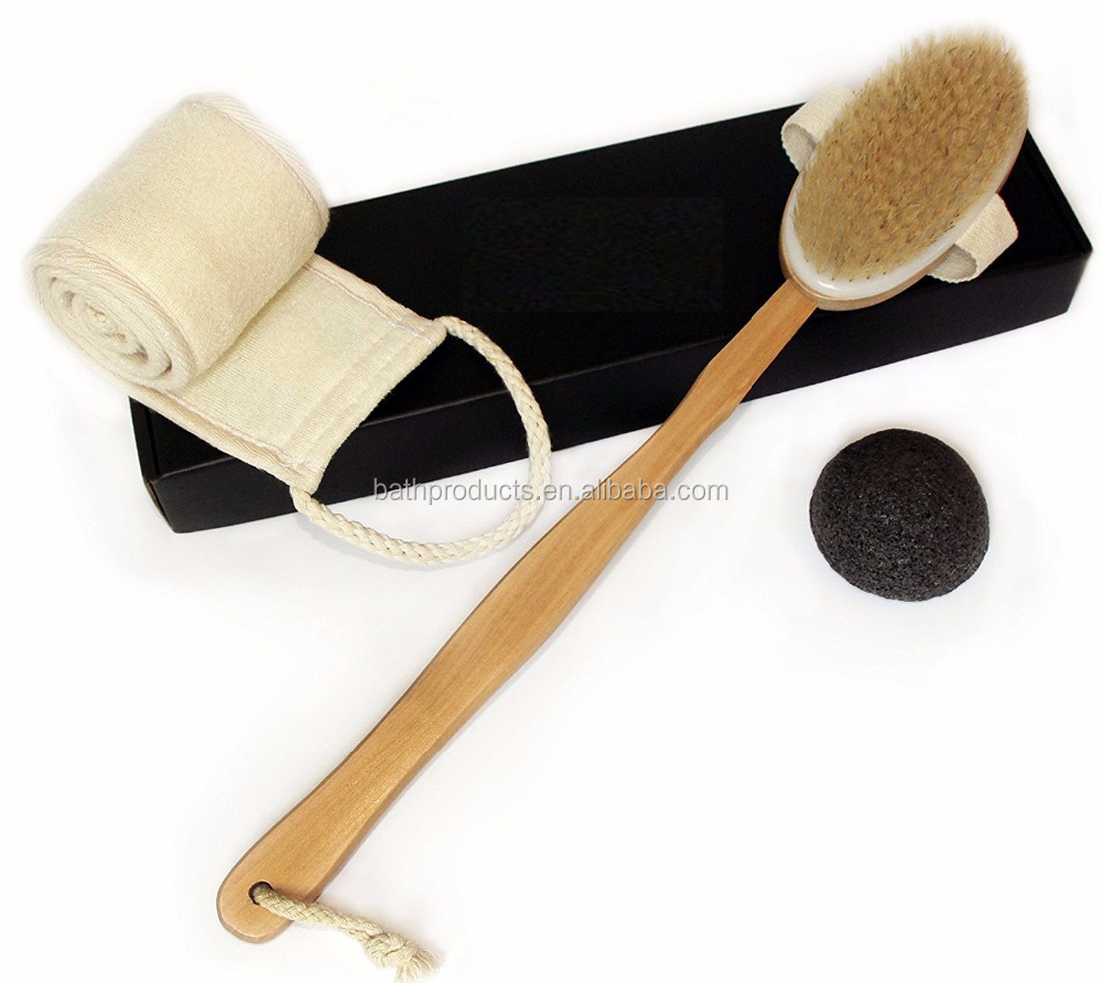Wholesale Long Handle Natural Loofah Back Scrubber/ Wooden Body Brush/Bath Brush