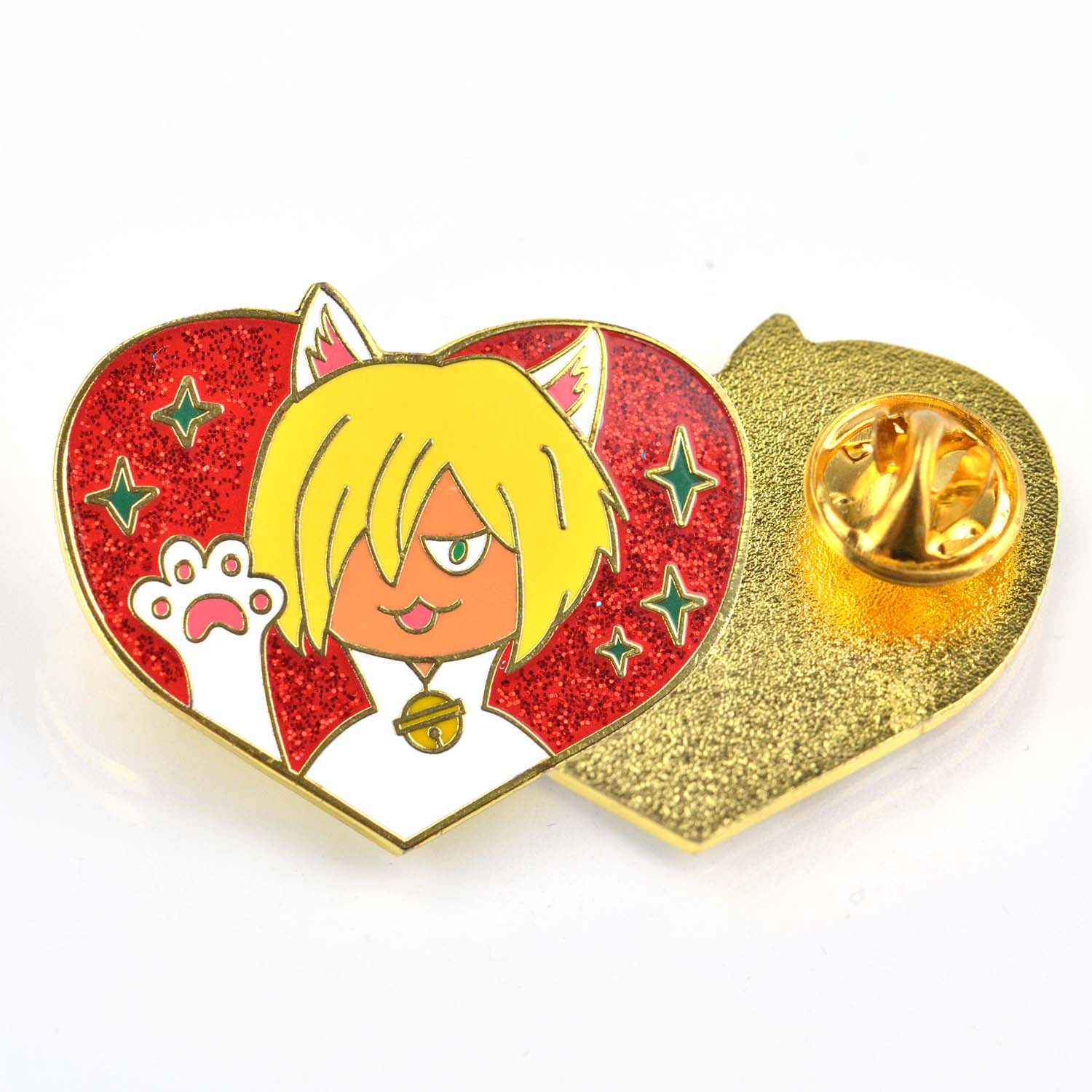 Custom design heart shaped badge metal custom glitter enamel lapel pin