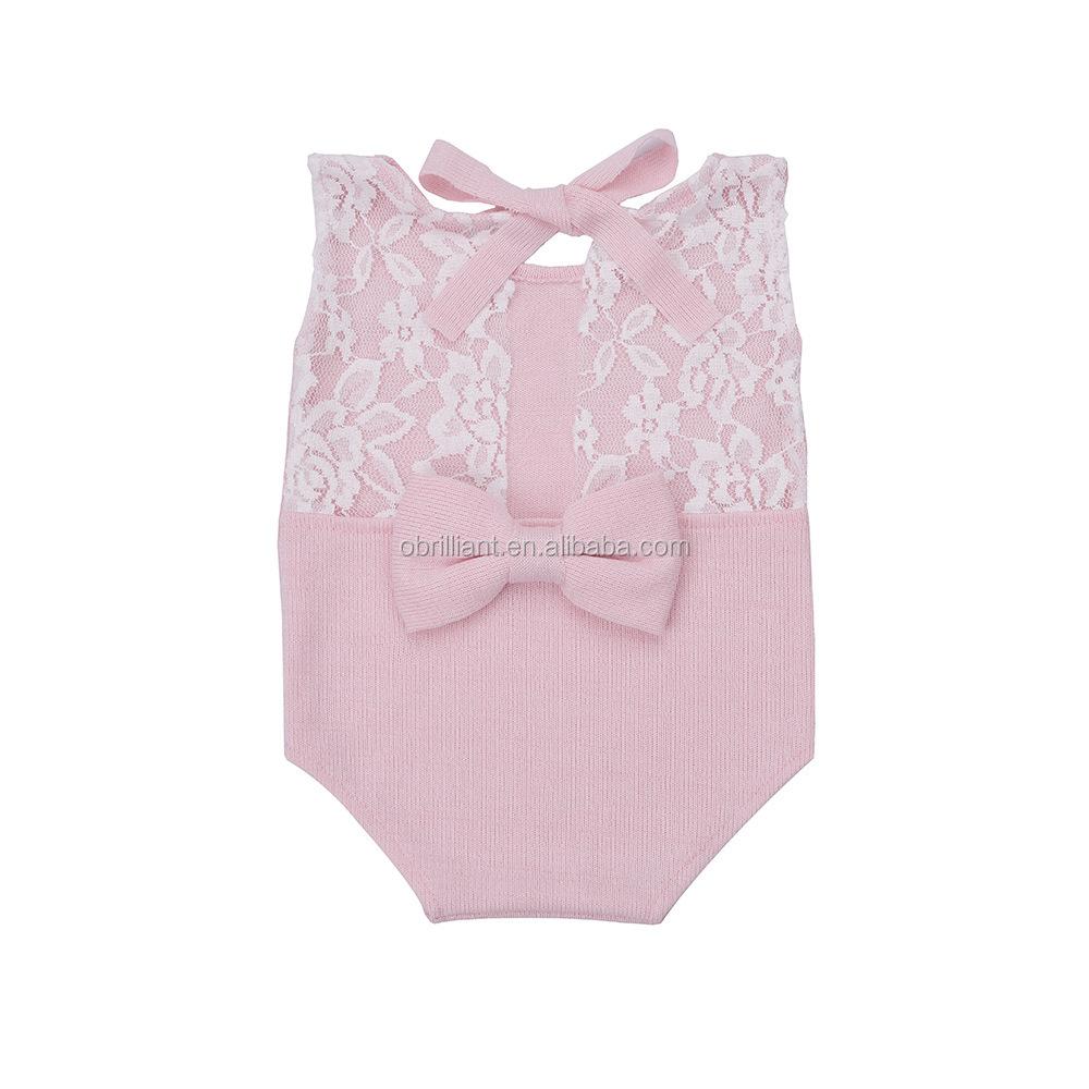 Newborn Infant Baby Photography Props Girls Lace Bow Vest Bodysuits Romper Photo