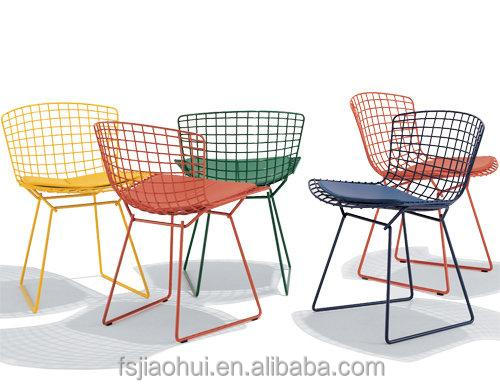 2016 new replica designer furniture cafe chairs harry bertoia wire rose gold metal wire mesh outdoor chair coffee shop furniture