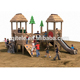 Outdoor kid zone treehouse wood playground equipment with metal slide for kids
