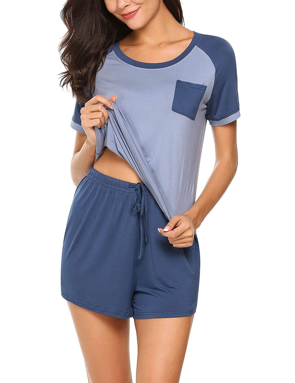 faacb1a41c1 Get Quotations · Goldenfox Modal Pajamas Set Women s Sleepwear Short Sleeve  Tee and Shorts with PJ Shorts Modal Nightwear