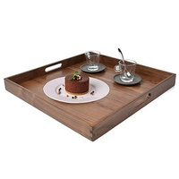 Large Square Wooden Solid Serving Tray with Handle Black Walnut Platter Ottoman Decorative Tray