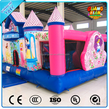 Guangqian New Design Colorful Inflatable Moonwalks With Obstacle Wall For Kids