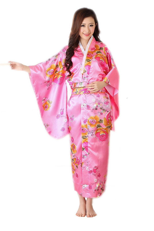 71d93cb2b1 Get Quotations · YueLian Women s Traditional Japanese Kimono Bathrobe  Yukata Kimono Dress