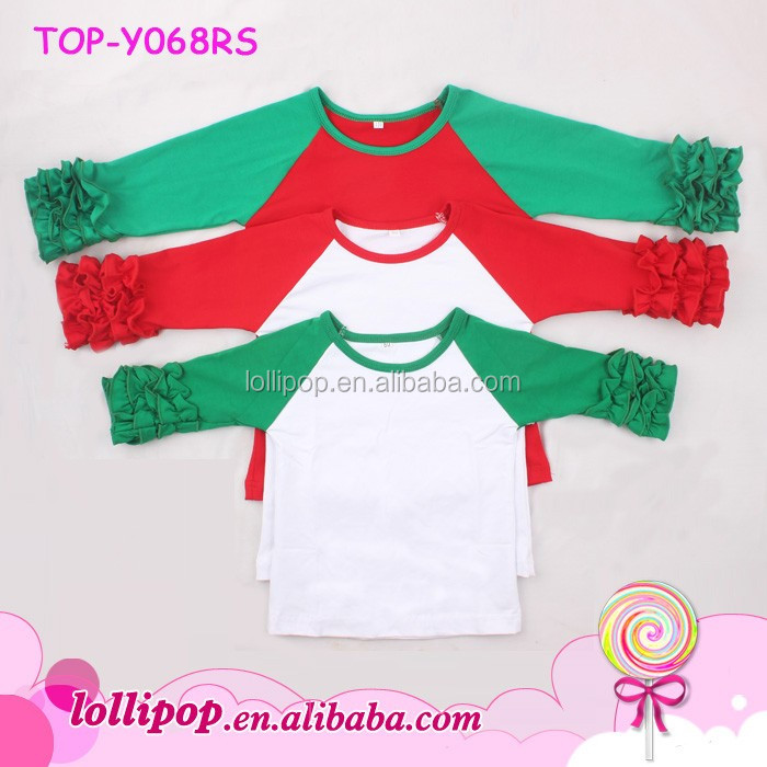 boutique wholesale cheap baby girl and adult t shirt 34 ruffle sleeve shirt toddler girls christmas raglan baby doll t shirts buy christmas raglan34