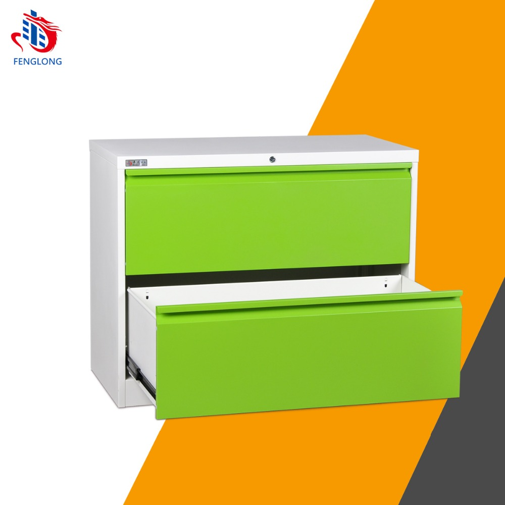 Green office small knock down 2 drawer file steel cabinet