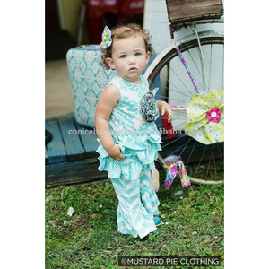 wholesale child summer print cotton ruffle blue baby kids clothing