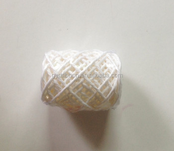 White Raffia Paper Rope And Ribbon Roll Bow Ng With Pp Film Wring