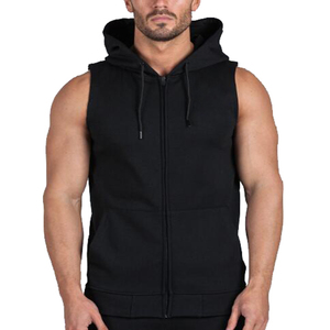 zip up boys black blank sleeveless hoodies for women men gym