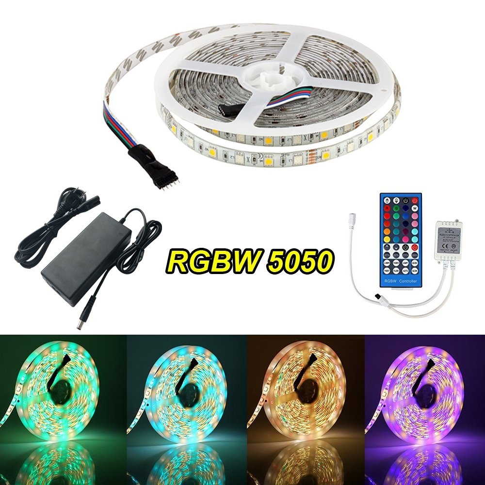 Cason LED Strip Lights RGBW Light Strip Waterproof 5050 SMD 16.4Ft/5M 300 LEDs Flexible RGBW LED Strip Lights with IR Controller+12V 3A Power Supply