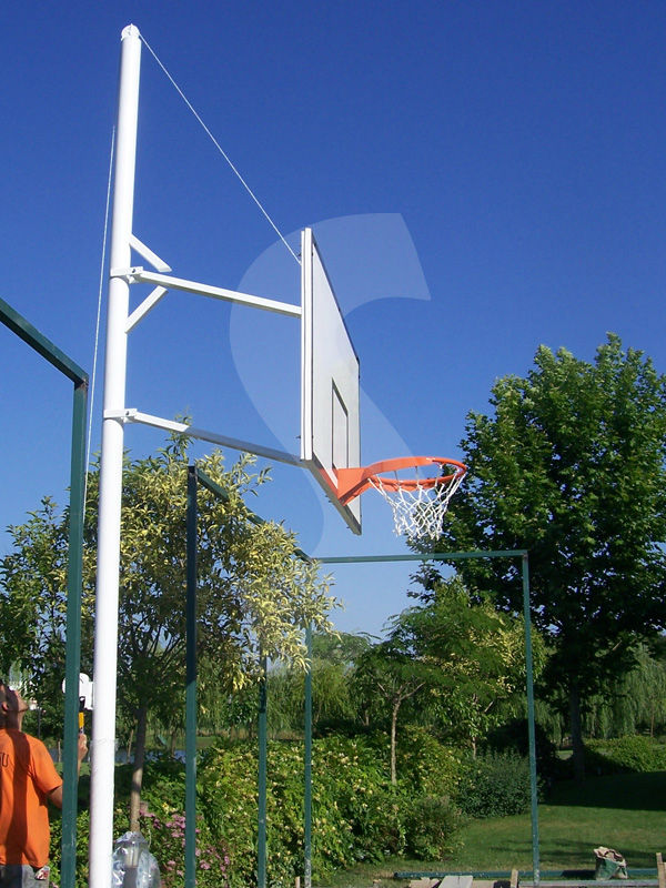 Basketball stand one pole height-adjustable