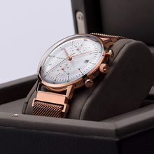 2017 Classic Style OEM Watch Luxury Band Stainless Steel Case Quartz Movement Three Eyes Chronograph From Watch Factory