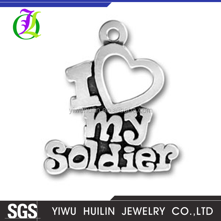 CN185552 Yiwu Huilin jewelry I Love my Soldier Charms silver Tone heart charm pendants Jewelry Making