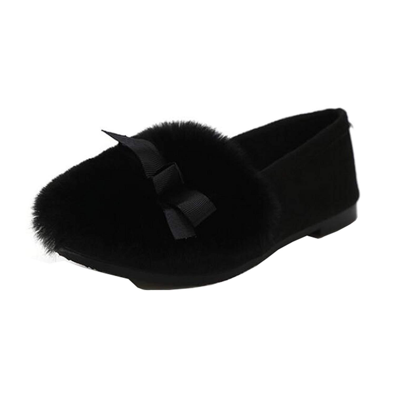 7e4d1f3eeff3 Get Quotations · Mashiaoyi Women's Low-Top Bowknot Slip-on Fur Ballet Flats