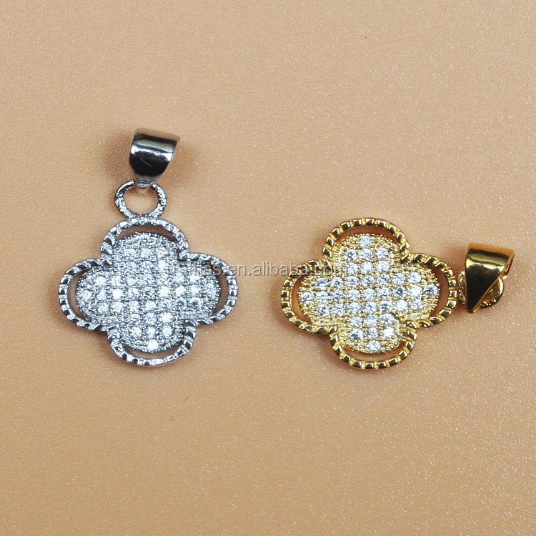 zircon pendant,gold filled jewelry, fourleaf clover diy jewelry pjxy170067048