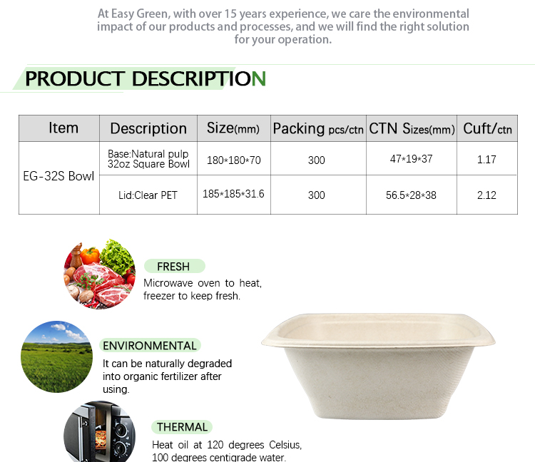 Easy Green Eco friendly Custom Size Food Packaging Sugarcane Bagasse Biodegradable  Bowl