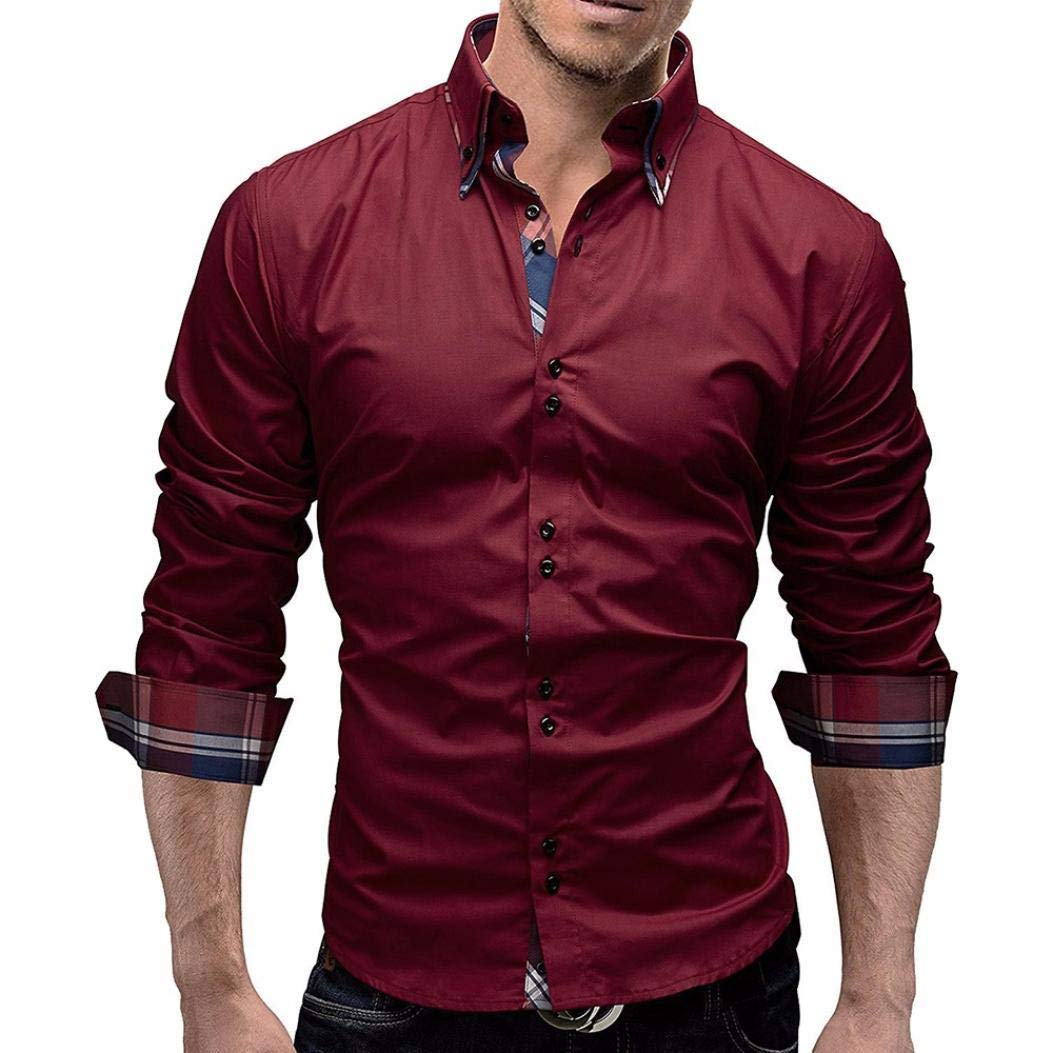 PHOTNO Mens Shirts,Men Slim Fit Long Sleeve Plaid Shirts Blouse Tops Button Down Dress Shirts