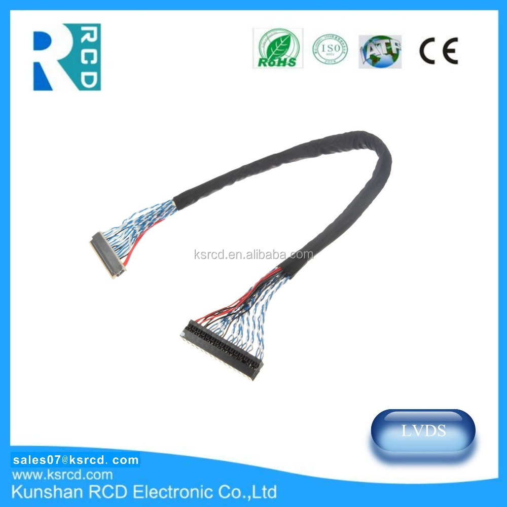 RCD Manufacture 30 pin LVDS cable assembly for LCD,Display,Monitoring LVDS Cable