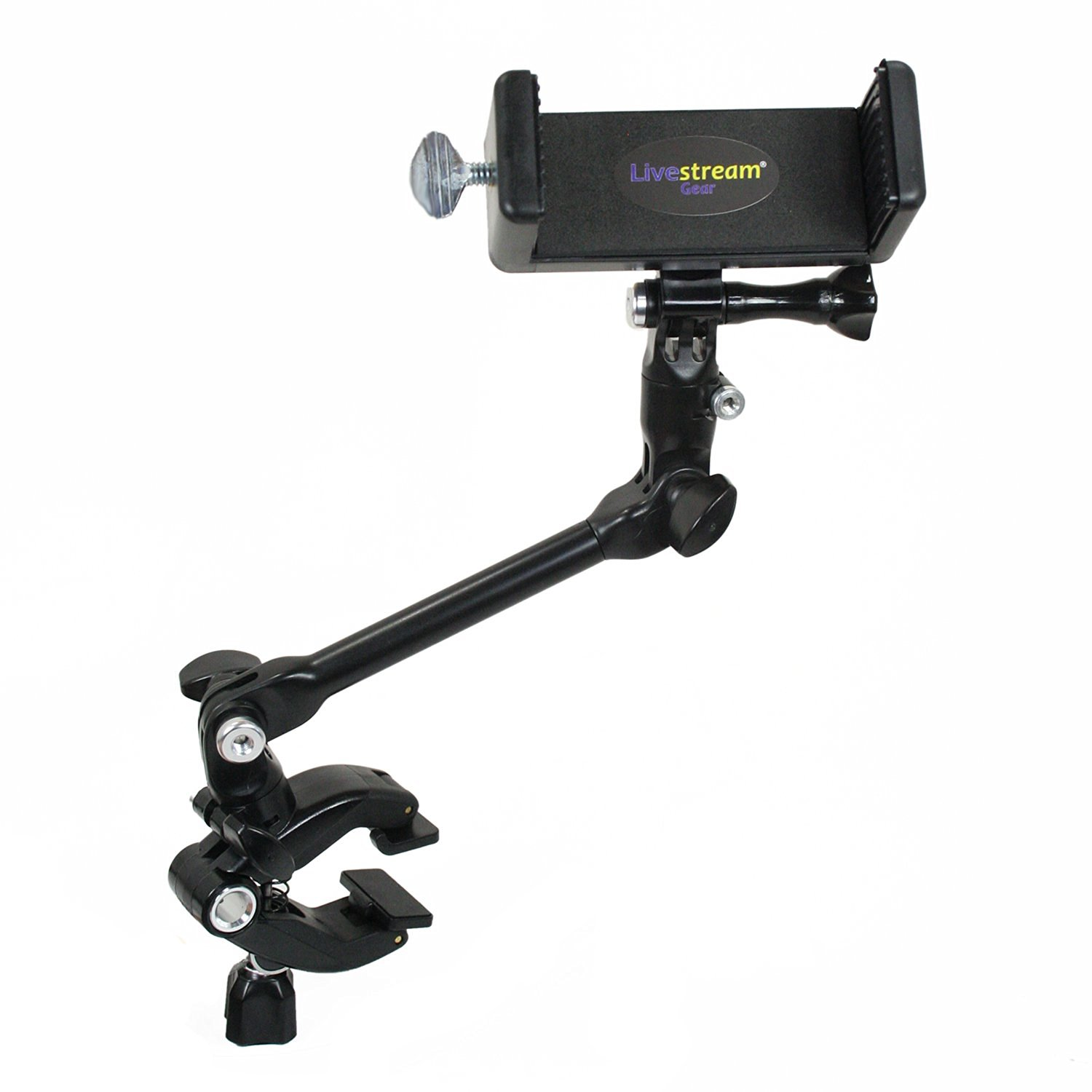 Livestream Gear® - PHABLET Jam Clamp Setup for Streaming or Video Recording, to Fit Large Sized Smartphone Devices like iPhone 6 Plus, Galaxy Note, etc. + Sport Cameras Like GoPro. (Phablet Jam Clamp)
