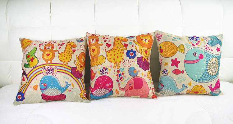 Fashion Cartoon Home Decorative Luxury Cotton Linen square Cushion Throw Pillow Cushions