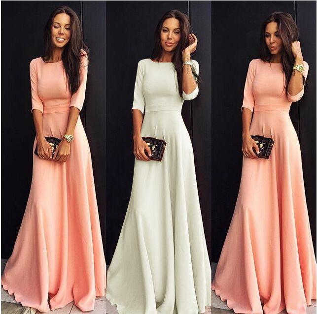 Lange jurk met driekwart mouw