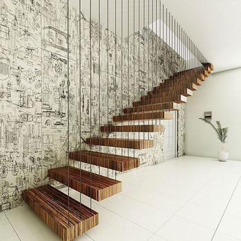 Nice Looking Stainless Steel Cable Wire Rob Railing Prefabricated Wood  Floating Stairs