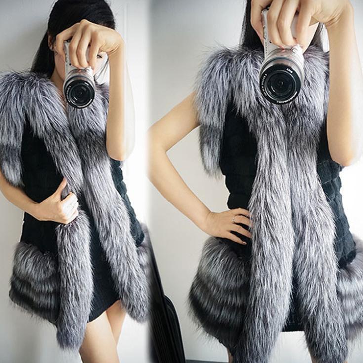 Зима искусственного лисий мех жилет верхняя одежда женщины в пальто черный белый 2 цвета WF-8468
