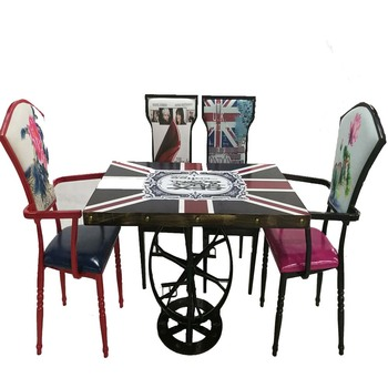Restaurant Furniture Square Laminate Table Set With 4 Ladder Back Wood Seat  Metal Chair Tables.