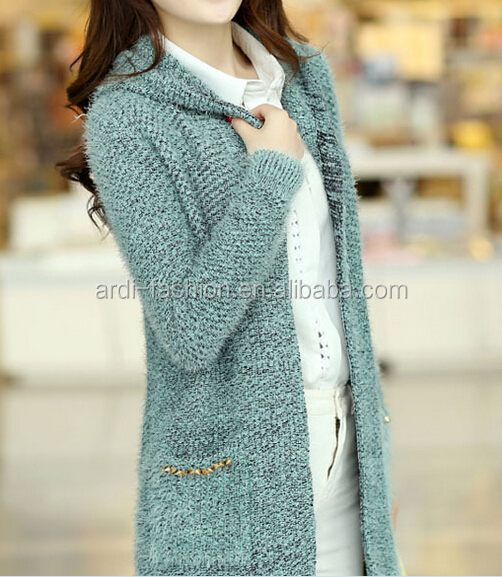 2015 Fancy Mohair Hand Knitted Girls Ladies Long Sleeve Hooded