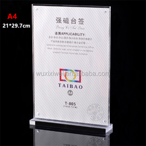 Acrylic table stand magnetic menu card sign holder a4 a5