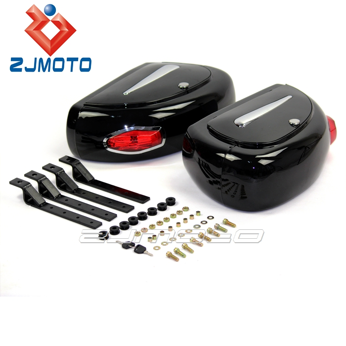 ZJMOTO ABS Luggage Side Case Hard Motorbike Rear Tail Box Cases Fit For Harley Custom Motorcycle