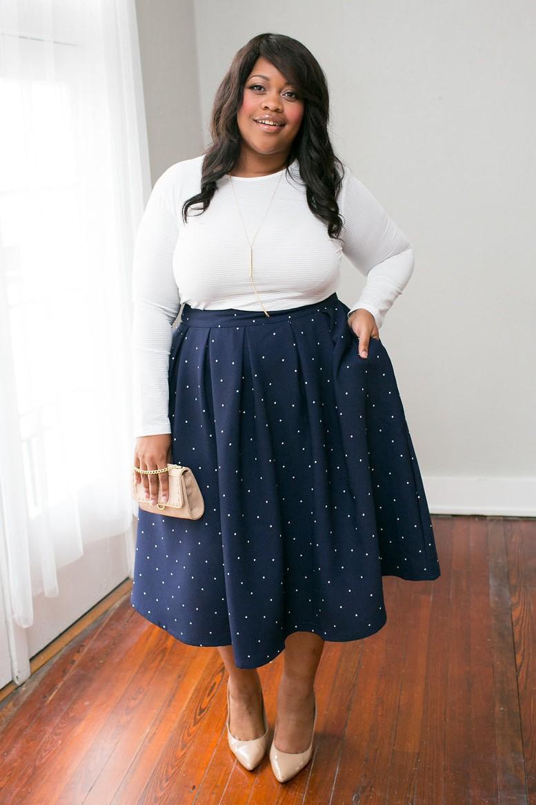 The Classic Ladies Plus Size Dress Spot Printed Long ...