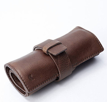 Wholesale Genuine Leather Makeup Holder Rolling Jewelry Pouch