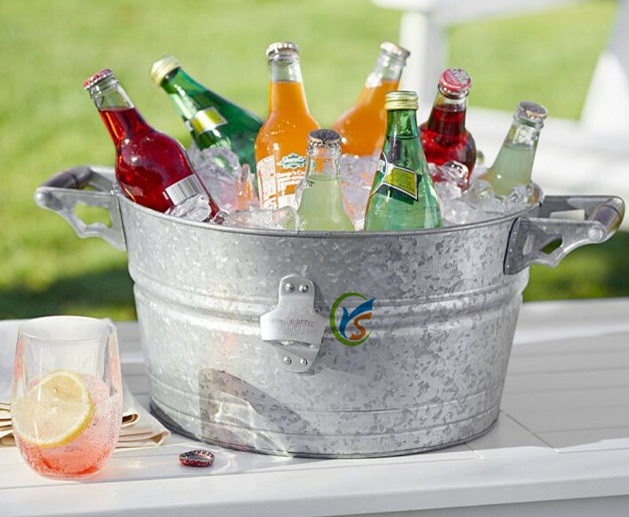 Galvanized metal party decoration beer or beverage ice for How to decorate a bucket