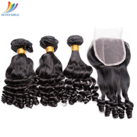 premium quality funmi curly virgin brazilian hair bundles with closure wholesale hair bundle 8A grade virgin Brazilian hair